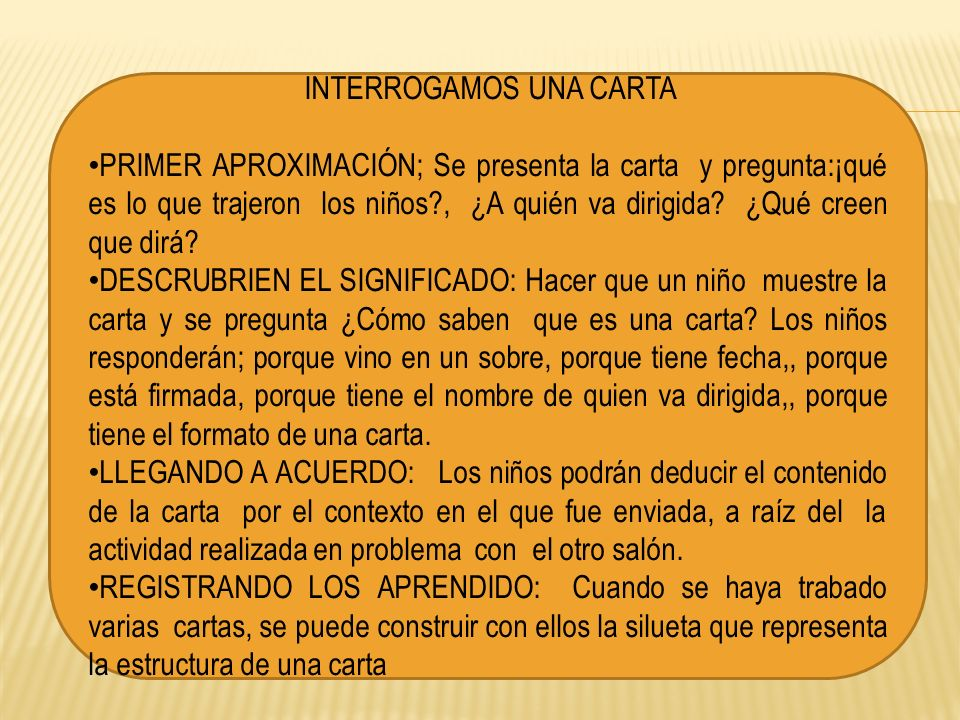 INTERROGAMOS UNA CARTA