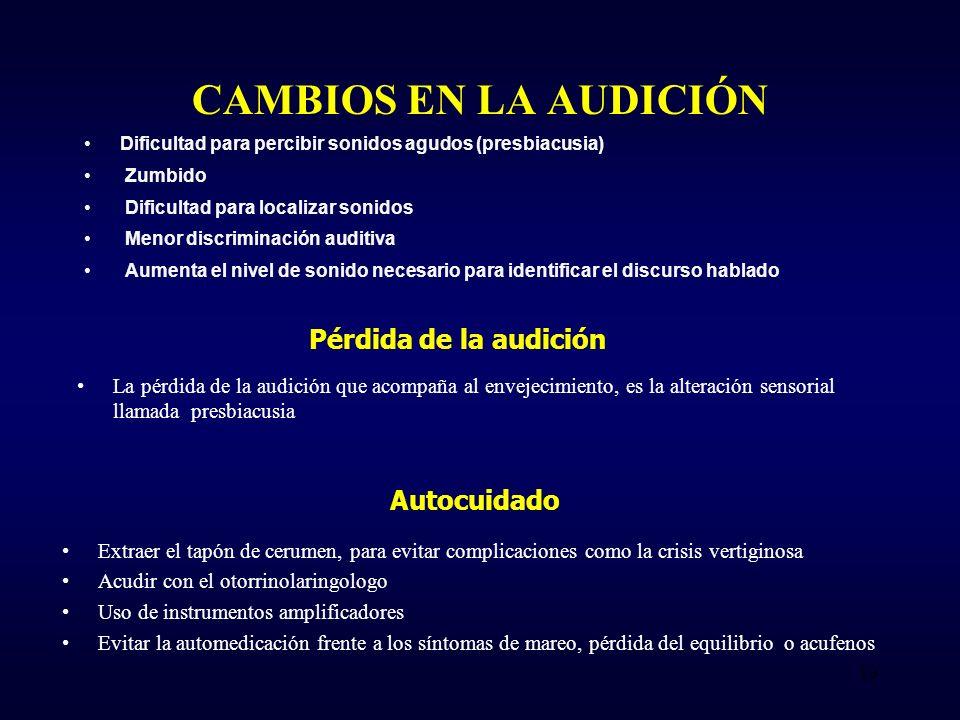 CAMBIOS EN LA AUDICIÓN Pérdida de la audición Autocuidado
