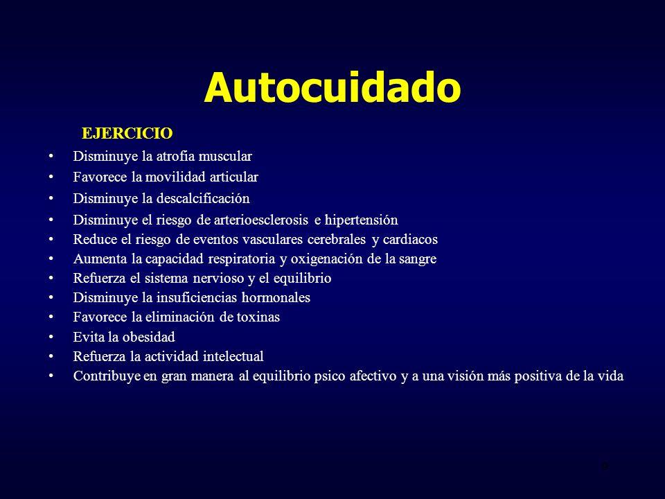 Autocuidado EJERCICIO Disminuye la atrofia muscular