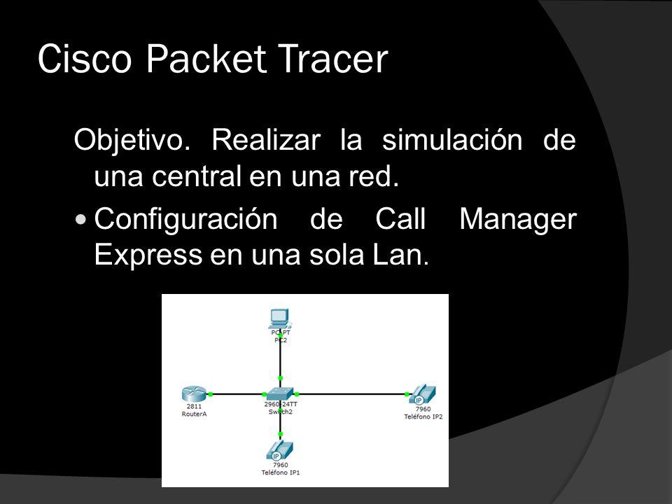 Cisco Packet Tracer Objetivo. Realizar la simulación de una central en una red.