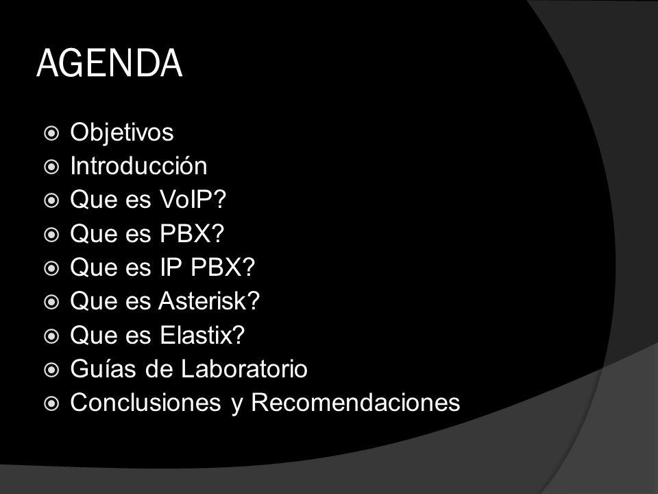AGENDA Objetivos Introducción Que es VoIP Que es PBX Que es IP PBX