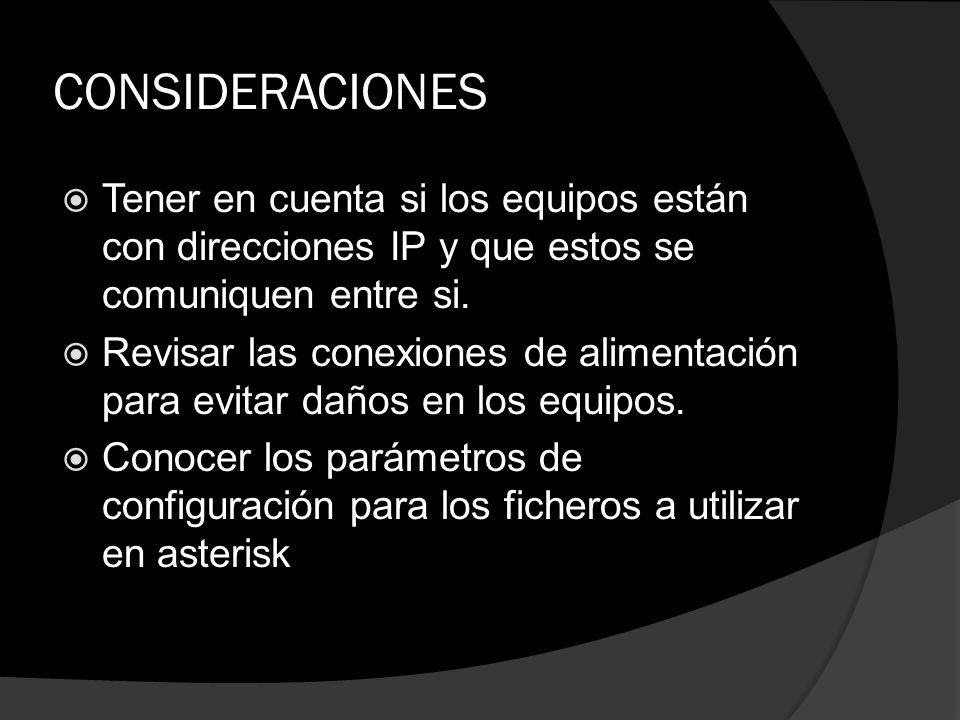 CONSIDERACIONES Tener en cuenta si los equipos están con direcciones IP y que estos se comuniquen entre si.