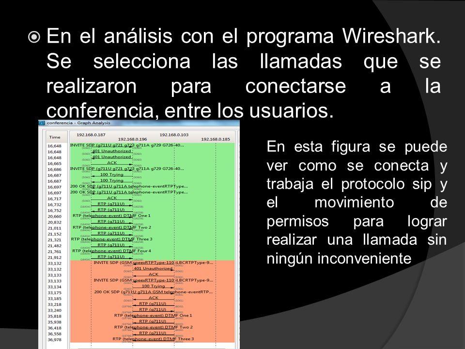 En el análisis con el programa Wireshark