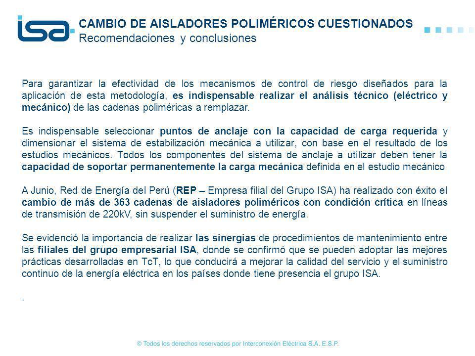 CAMBIO DE AISLADORES POLIMÉRICOS CUESTIONADOS Recomendaciones y conclusiones