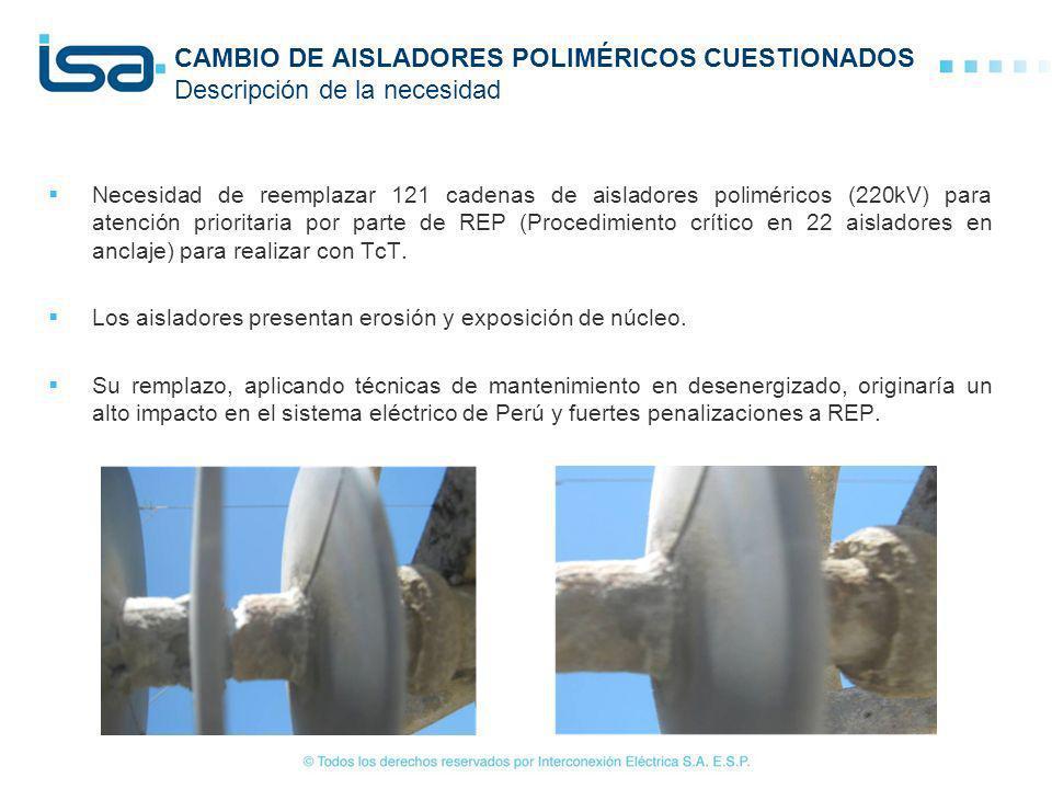 CAMBIO DE AISLADORES POLIMÉRICOS CUESTIONADOS Descripción de la necesidad