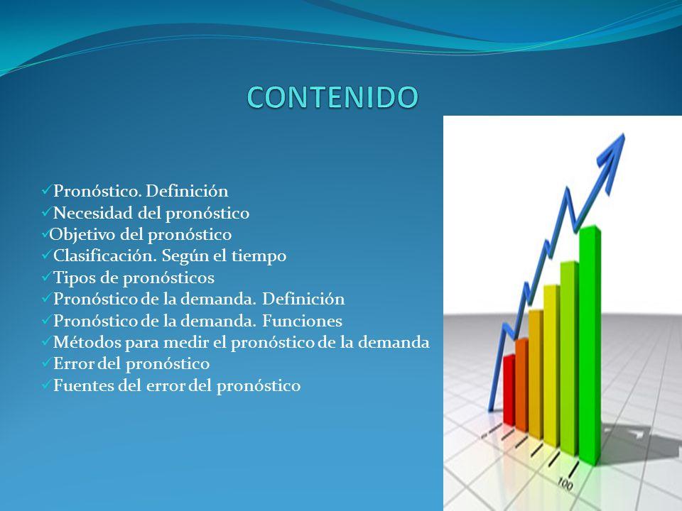 CONTENIDO Pronóstico. Definición Necesidad del pronóstico