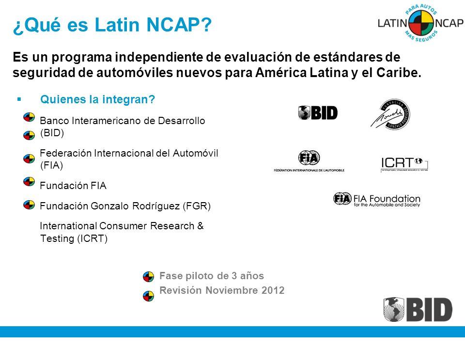 ¿Qué es Latin NCAP Es un programa independiente de evaluación de estándares de seguridad de automóviles nuevos para América Latina y el Caribe.