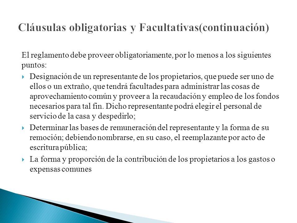 Cláusulas obligatorias y Facultativas(continuación)