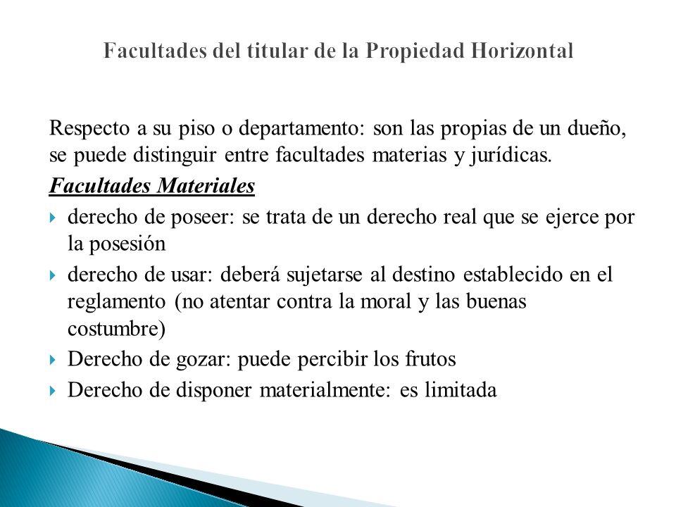 Facultades del titular de la Propiedad Horizontal