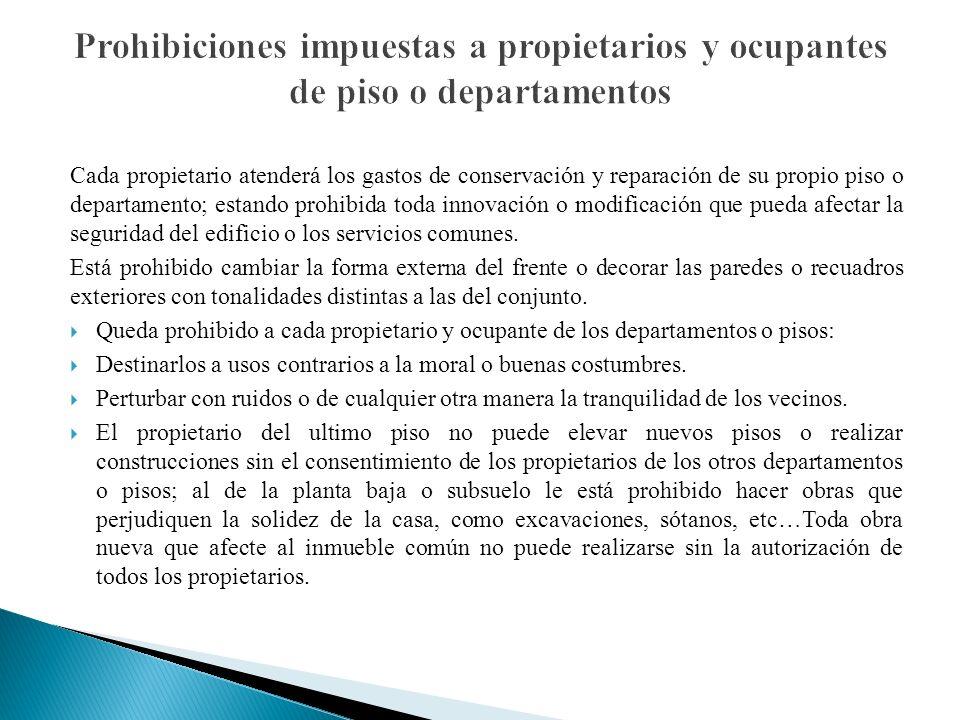 Prohibiciones impuestas a propietarios y ocupantes de piso o departamentos