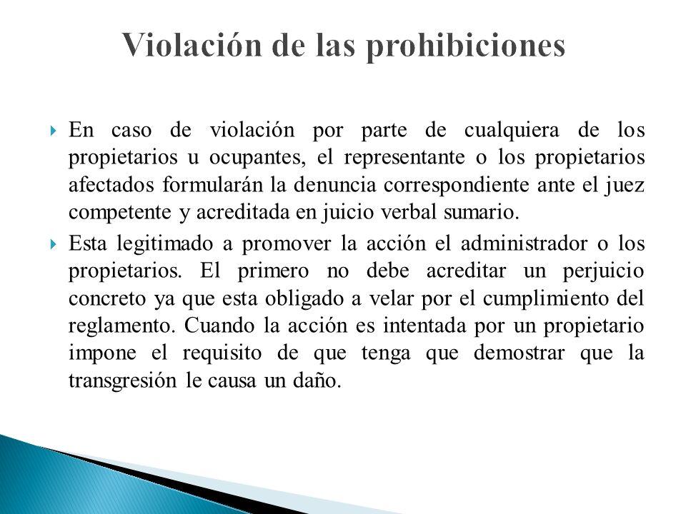 Violación de las prohibiciones