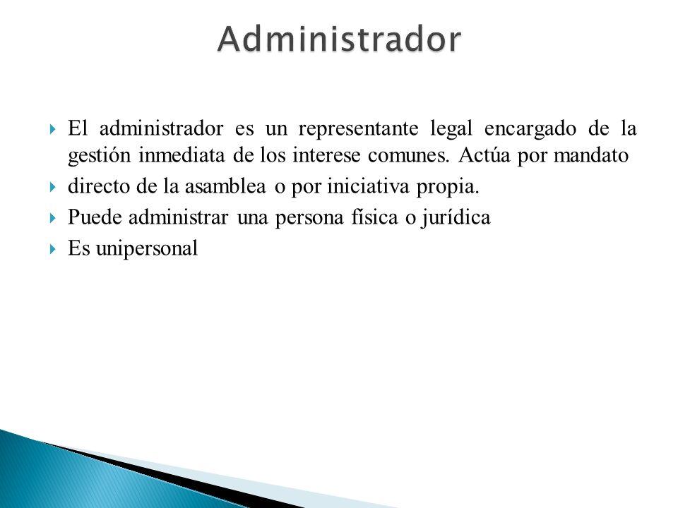 Administrador El administrador es un representante legal encargado de la gestión inmediata de los interese comunes. Actúa por mandato.