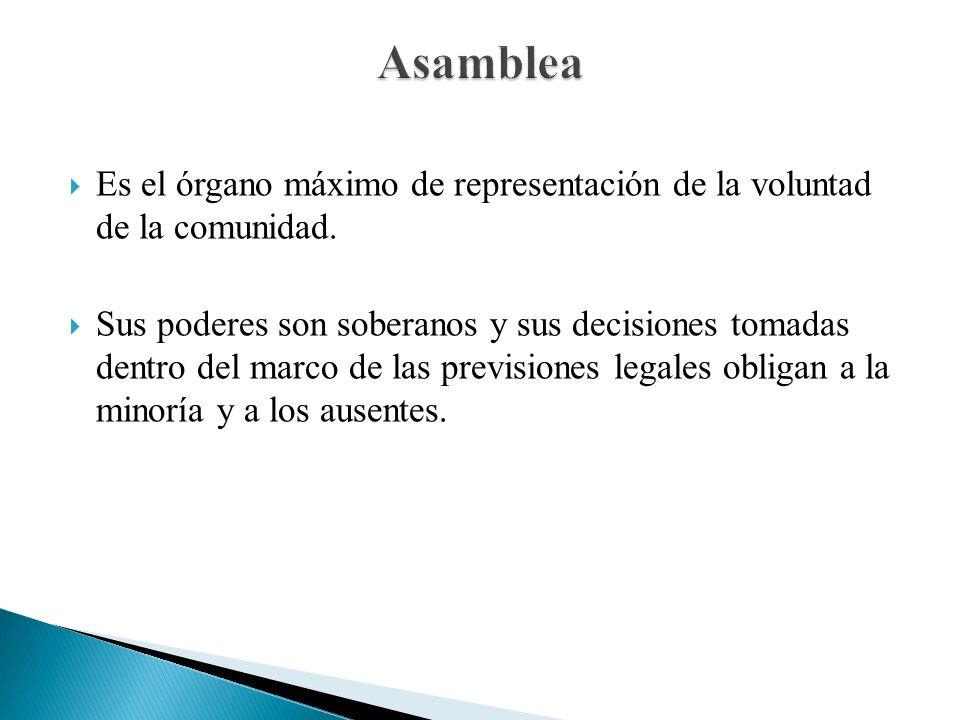 Asamblea Es el órgano máximo de representación de la voluntad de la comunidad.