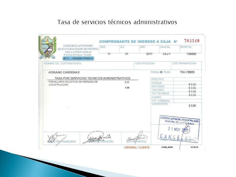 Tasa de servicios técnicos administrativos