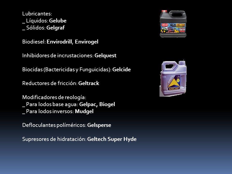 Lubricantes: _ Líquidos: Gelube _ Sólidos: Gelgraf Biodiesel: Envirodrill, Envirogel Inhibidores de incrustaciones: Gelquest Biocidas (Bactericidas y Funguicidas): Gelcide Reductores de fricción: Geltrack Modificadores de reología: _ Para lodos base agua: Gelpac, Biogel _ Para lodos inversos: Mudgel Defloculantes políméricos: Gelsperse Supresores de hidratación: Geltech Super Hyde