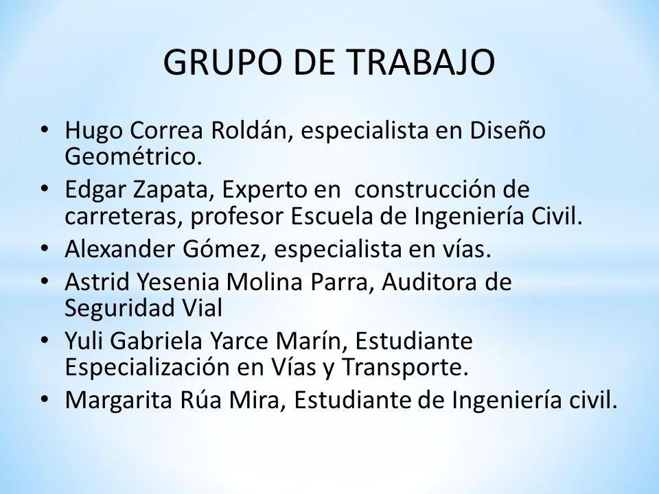 GRUPO DE TRABAJO Hugo Correa Roldán, especialista en Diseño Geométrico.