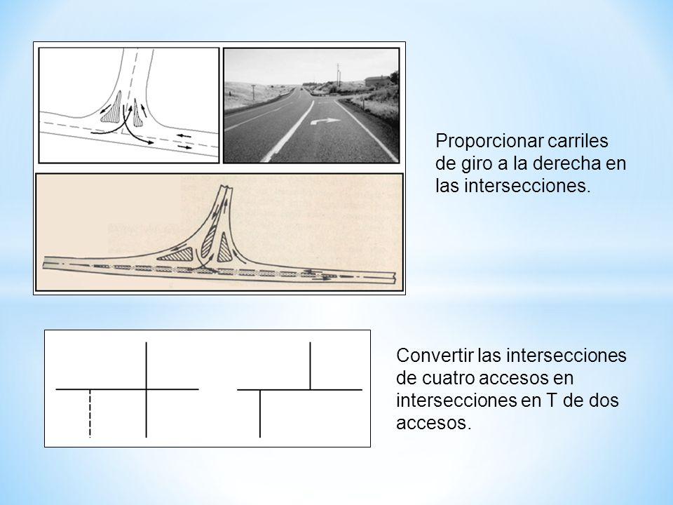Proporcionar carriles de giro a la derecha en las intersecciones.