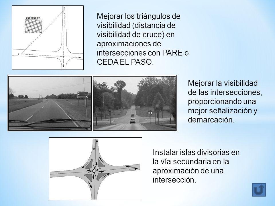 Mejorar los triángulos de visibilidad (distancia de visibilidad de cruce) en aproximaciones de intersecciones con PARE o CEDA EL PASO.