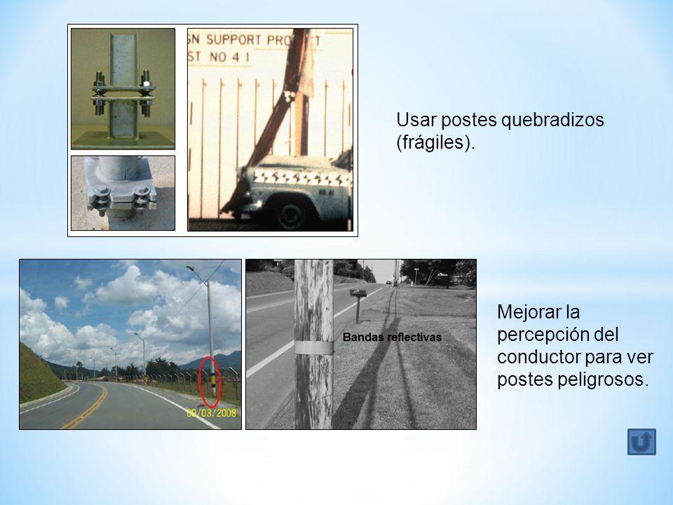Usar postes quebradizos (frágiles).