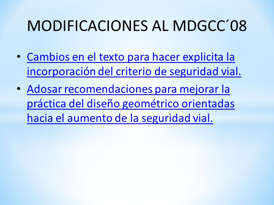 MODIFICACIONES AL MDGCC´08