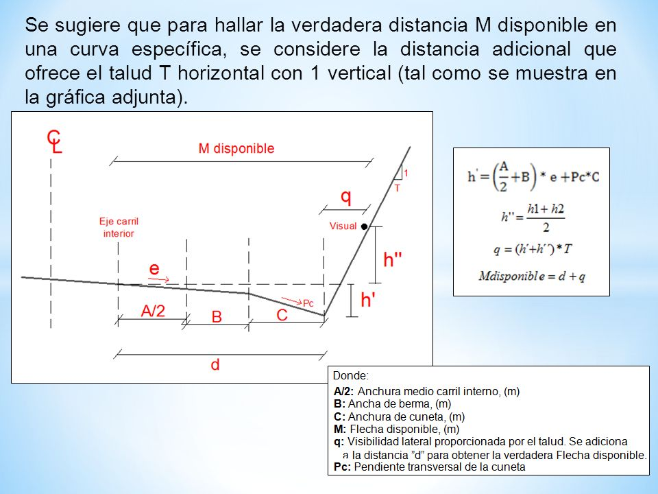 Se sugiere que para hallar la verdadera distancia M disponible en una curva específica, se considere la distancia adicional que ofrece el talud T horizontal con 1 vertical (tal como se muestra en la gráfica adjunta).