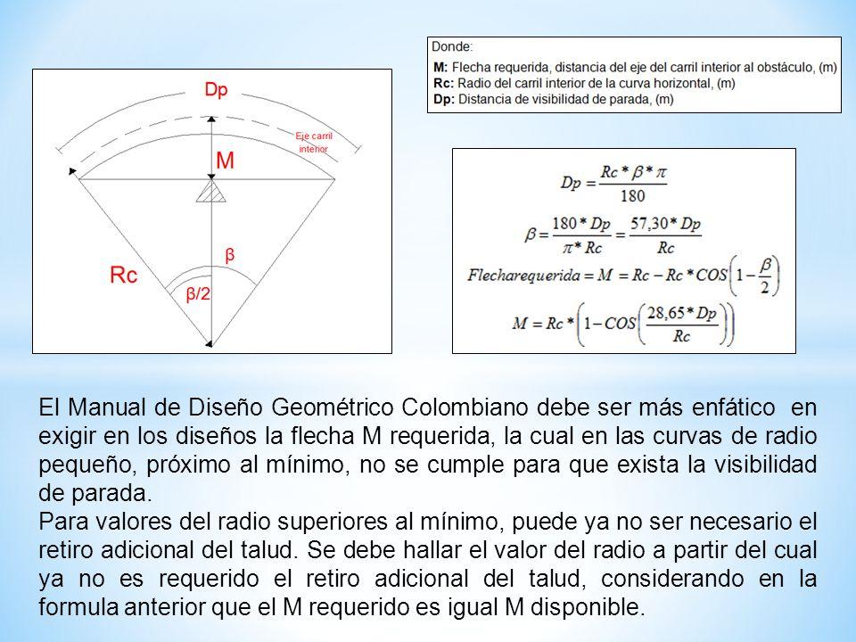 El Manual de Diseño Geométrico Colombiano debe ser más enfático en exigir en los diseños la flecha M requerida, la cual en las curvas de radio pequeño, próximo al mínimo, no se cumple para que exista la visibilidad de parada.
