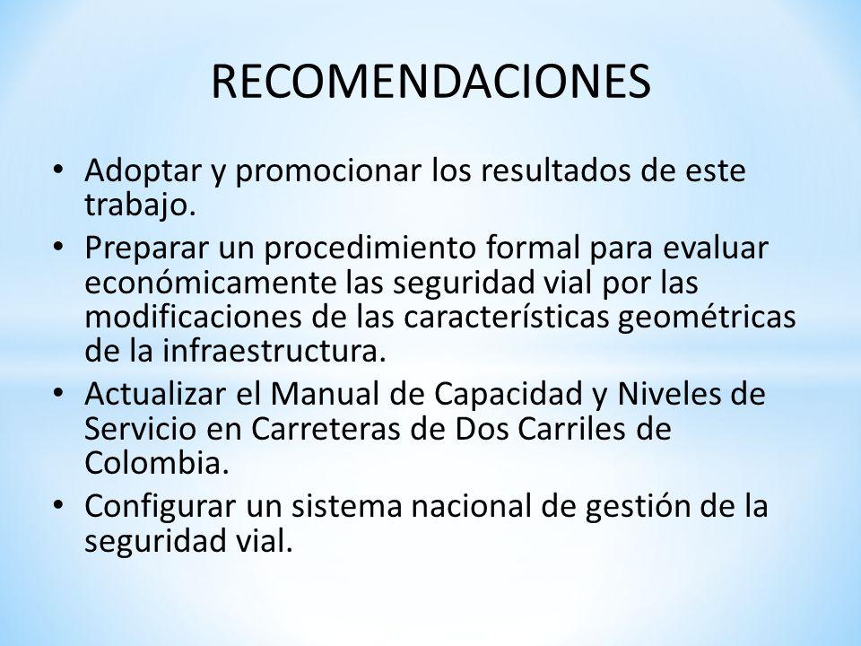 RECOMENDACIONES Adoptar y promocionar los resultados de este trabajo.