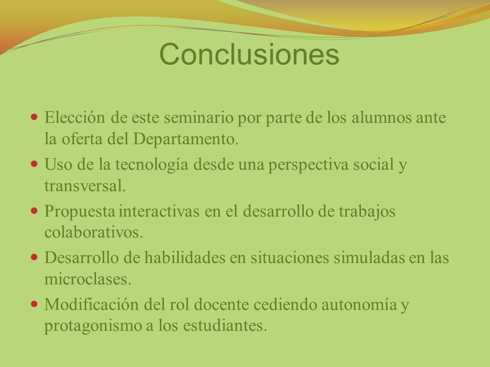 Conclusiones Elección de este seminario por parte de los alumnos ante la oferta del Departamento.