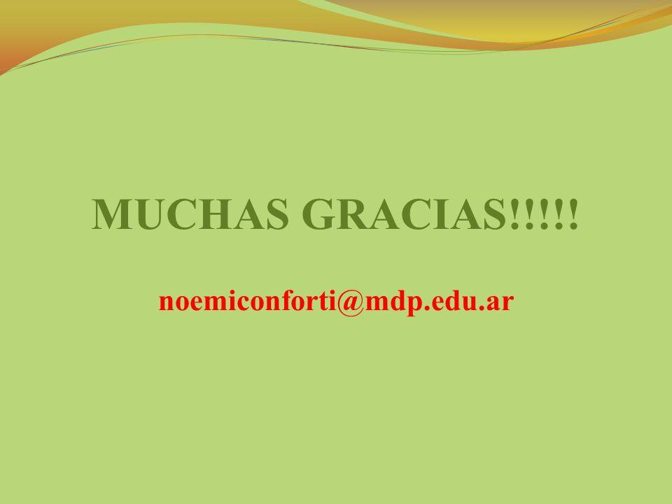 MUCHAS GRACIAS!!!!! noemiconforti@mdp.edu.ar
