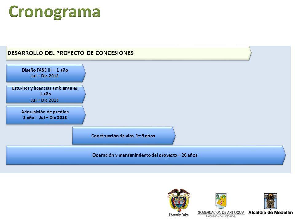 Cronograma DESARROLLO DEL PROYECTO DE CONCESIONES
