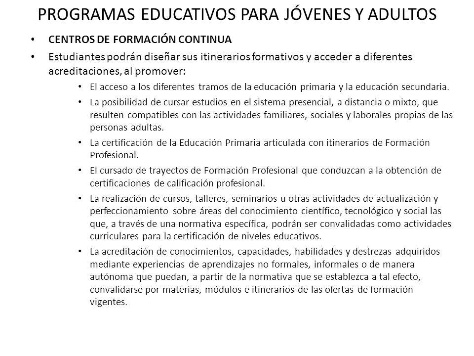 PROGRAMAS EDUCATIVOS PARA JÓVENES Y ADULTOS