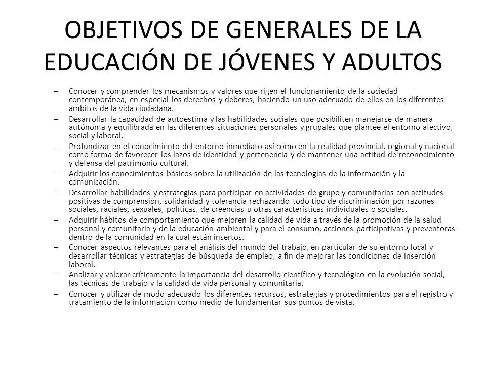 OBJETIVOS DE GENERALES DE LA EDUCACIÓN DE JÓVENES Y ADULTOS