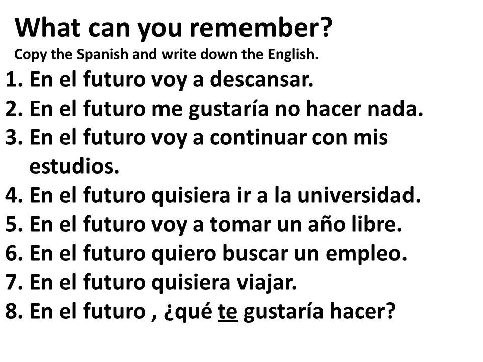 What can you remember 1. En el futuro voy a descansar.