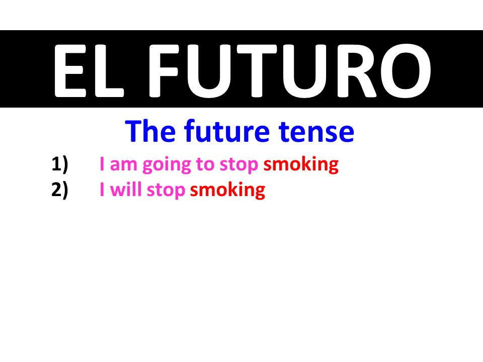 The future tense I am going to stop smoking I will stop smoking