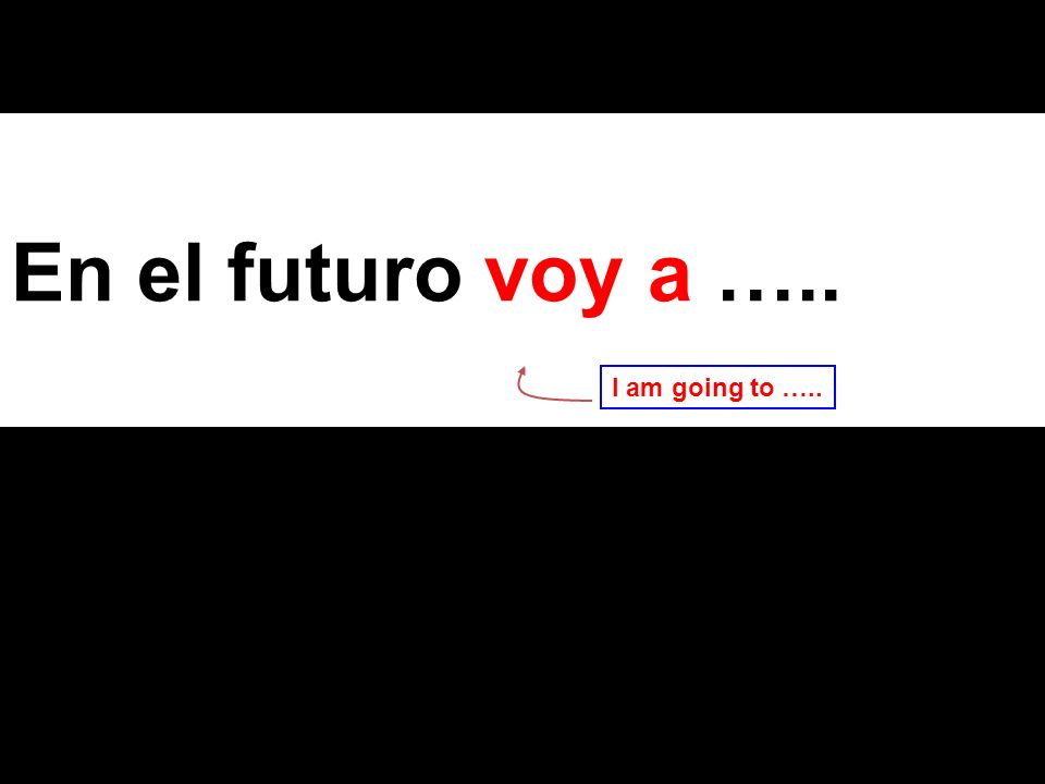 En el futuro voy a ….. I am going to …..