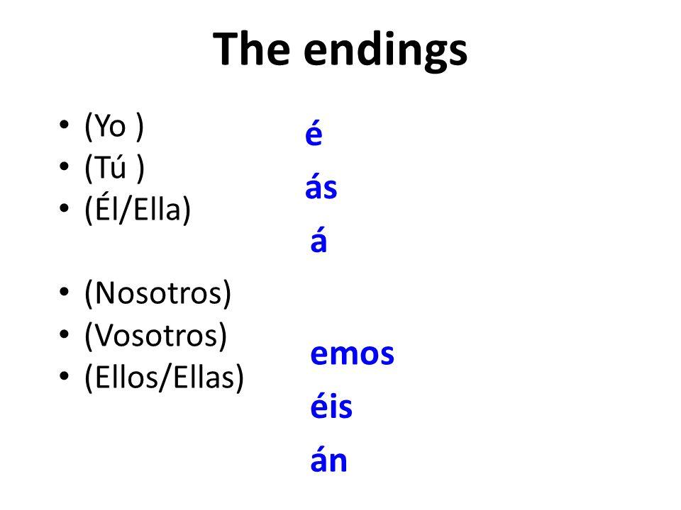 The endings é ás á emos éis án (Yo ) (Tú ) (Él/Ella) (Nosotros)