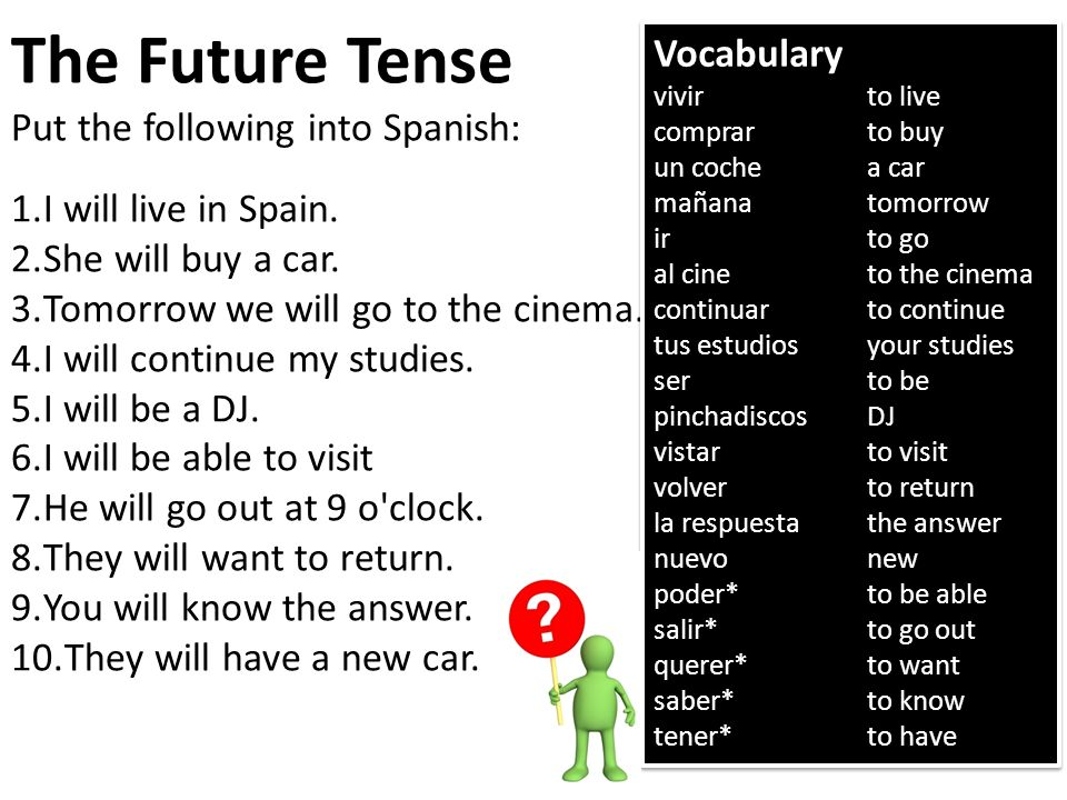 The Future Tense Vocabulary Put the following into Spanish: