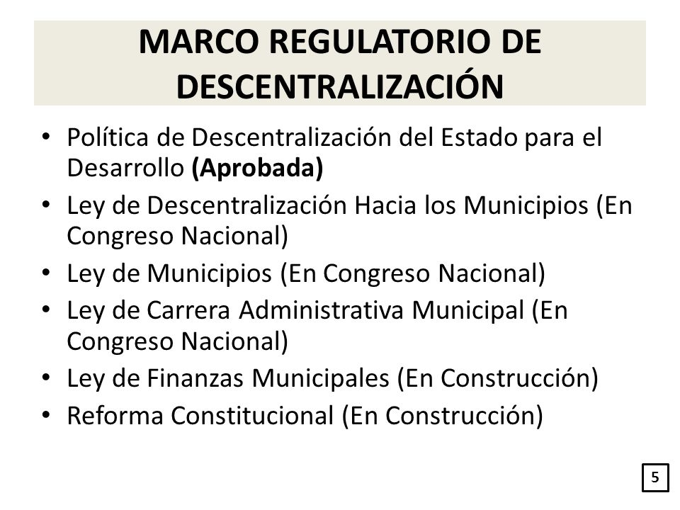 MARCO REGULATORIO DE DESCENTRALIZACIÓN