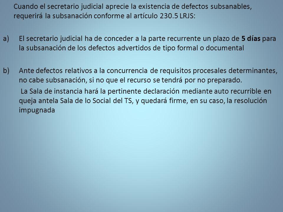 Cuando el secretario judicial aprecie la existencia de defectos subsanables, requerirá la subsanación conforme al artículo 230.5 LRJS: