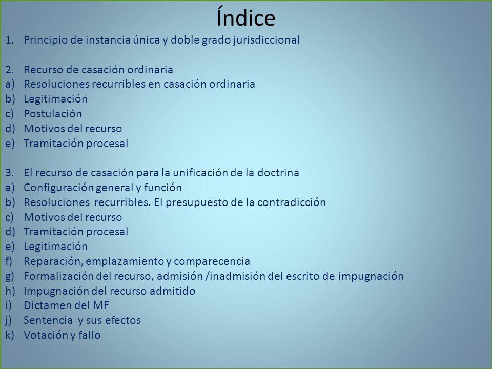 Índice Principio de instancia única y doble grado jurisdiccional