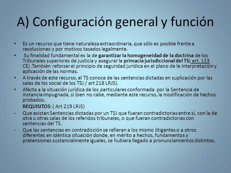 A) Configuración general y función