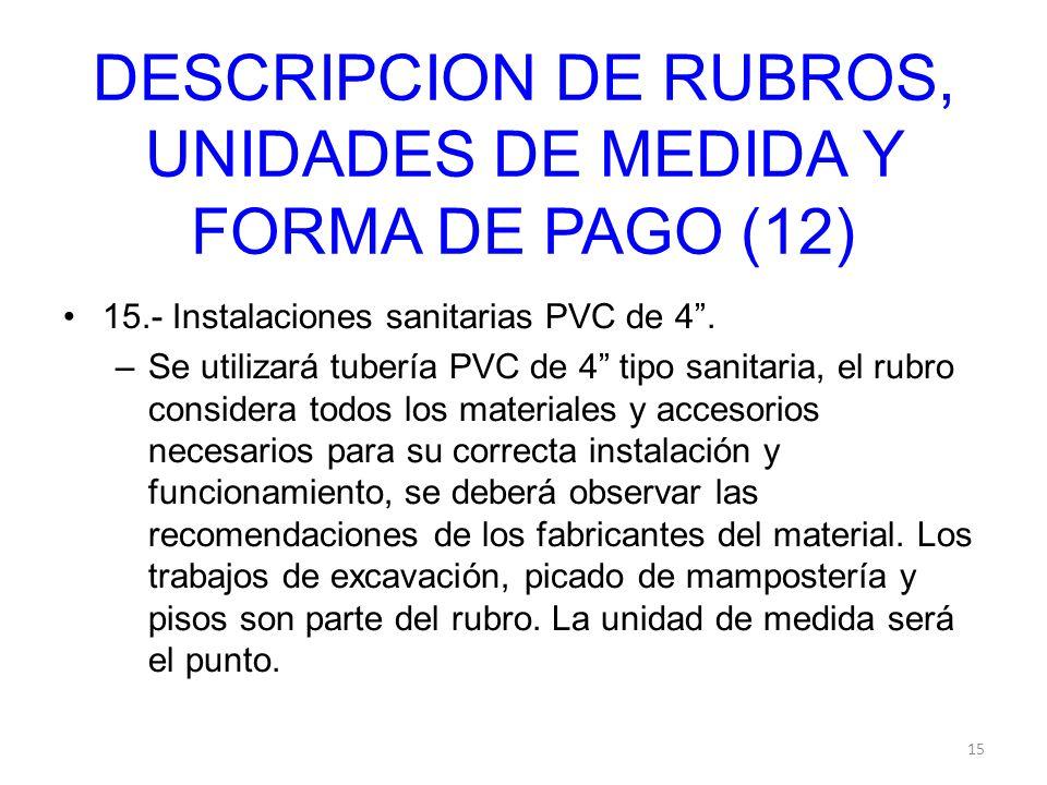 DESCRIPCION DE RUBROS, UNIDADES DE MEDIDA Y FORMA DE PAGO (12)