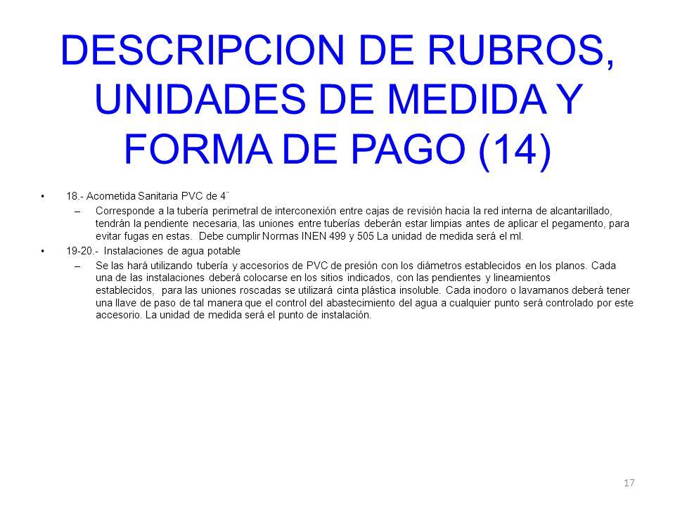 DESCRIPCION DE RUBROS, UNIDADES DE MEDIDA Y FORMA DE PAGO (14)