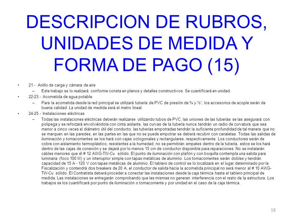 DESCRIPCION DE RUBROS, UNIDADES DE MEDIDA Y FORMA DE PAGO (15)