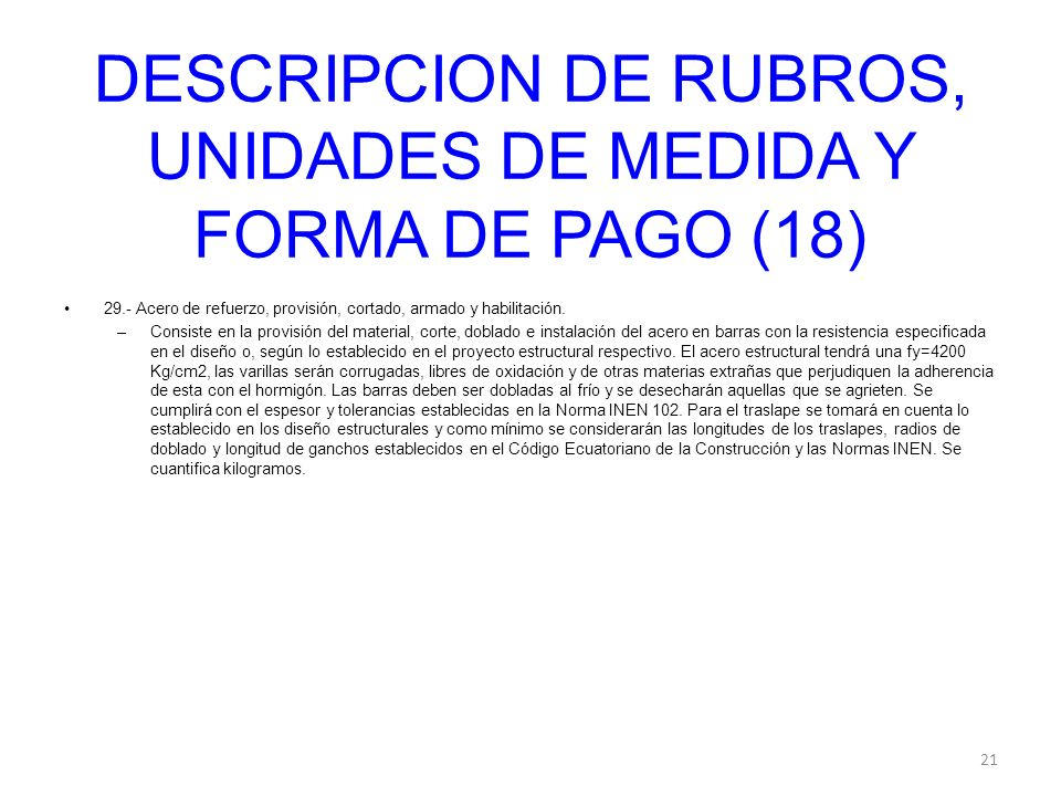 DESCRIPCION DE RUBROS, UNIDADES DE MEDIDA Y FORMA DE PAGO (18)