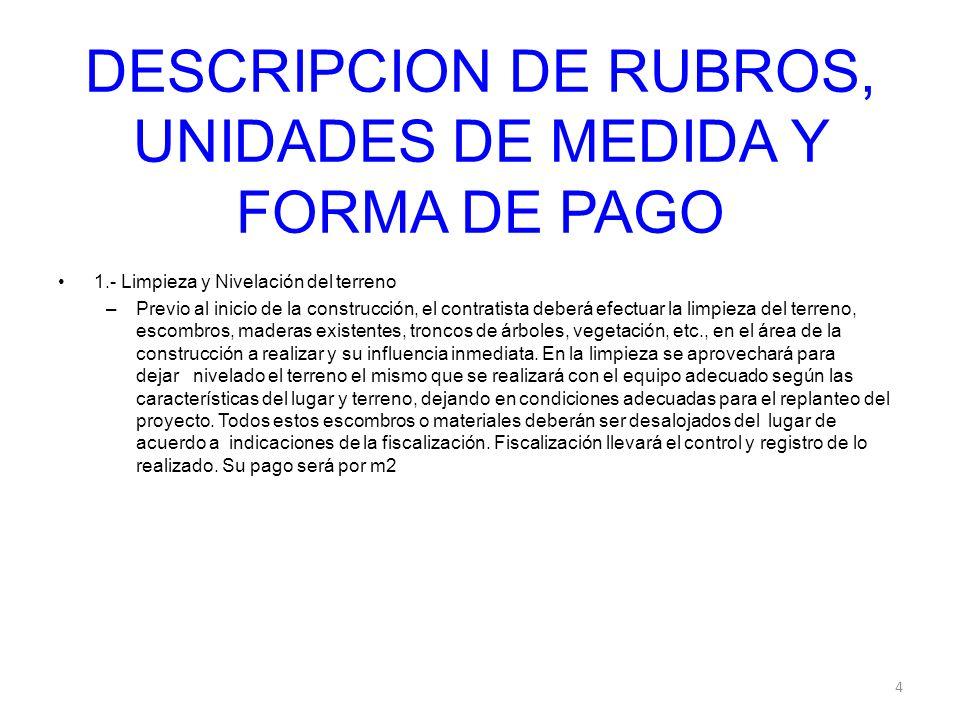 DESCRIPCION DE RUBROS, UNIDADES DE MEDIDA Y FORMA DE PAGO