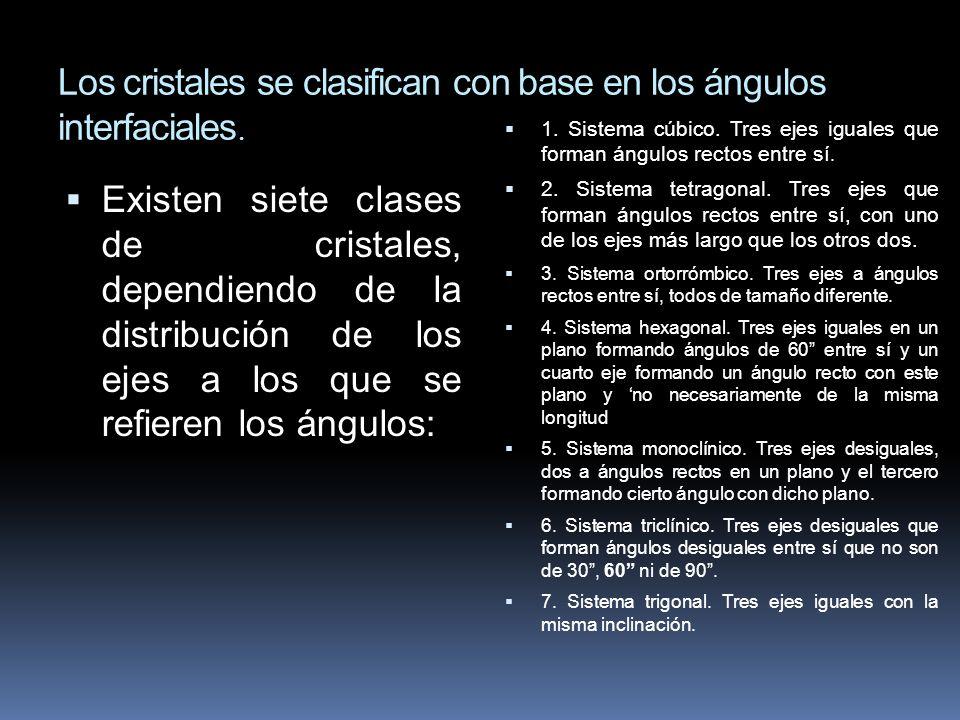 Los cristales se clasifican con base en los ángulos interfaciales.