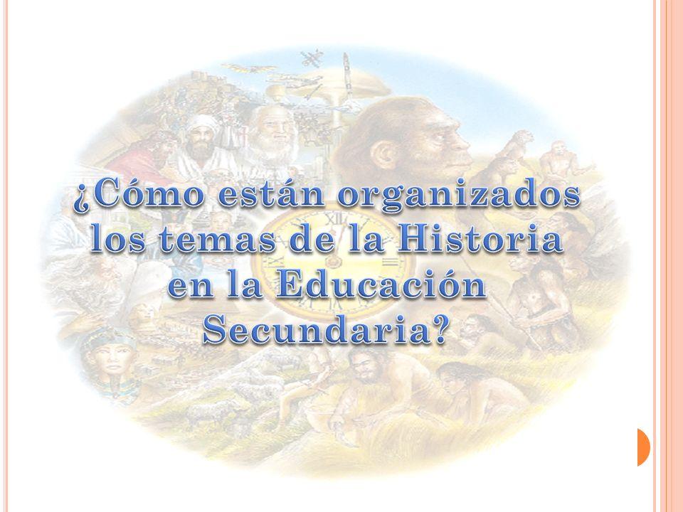 ¿Cómo están organizados los temas de la Historia