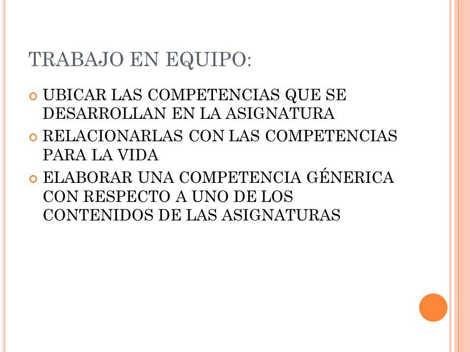 TRABAJO EN EQUIPO: UBICAR LAS COMPETENCIAS QUE SE DESARROLLAN EN LA ASIGNATURA. RELACIONARLAS CON LAS COMPETENCIAS PARA LA VIDA.