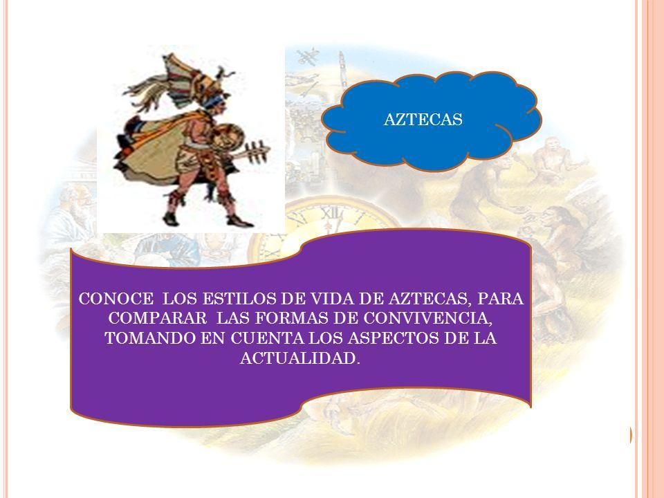 AZTECAS CONOCE LOS ESTILOS DE VIDA DE AZTECAS, PARA COMPARAR LAS FORMAS DE CONVIVENCIA, TOMANDO EN CUENTA LOS ASPECTOS DE LA ACTUALIDAD.
